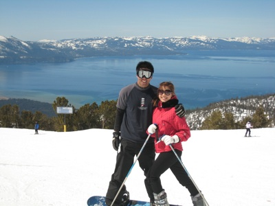 Colin & I skiing