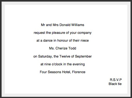 private society ball invitation