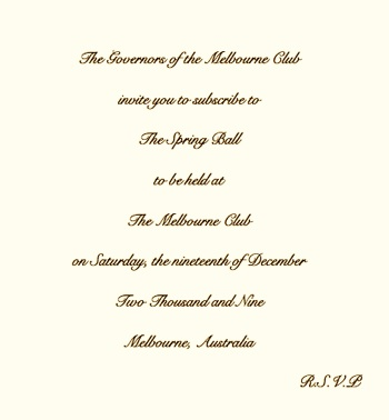 Society Benefit ball invitation