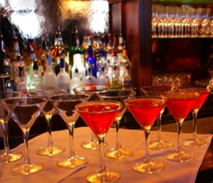 cosmopolitans on a bar